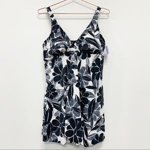 Swimsuits For All Plus Size Side-Slit Swim Dress